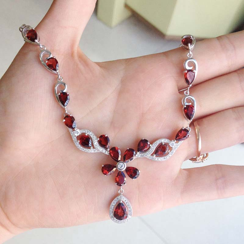 Derongems_Fine Jewelry_Elegant Natural Garnet Flower Necklaces_S925 Silver Real Garnet Necklaces_Manufacturer Directly Sales(China (Mainland))