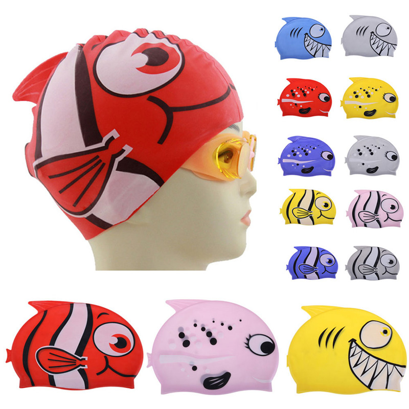 Hot Lovely Children Cartoon Swimming Cap Silicon Diving Waterproof Protect Ear Fish Shape Swimming Caps EA14(China (Mainland))