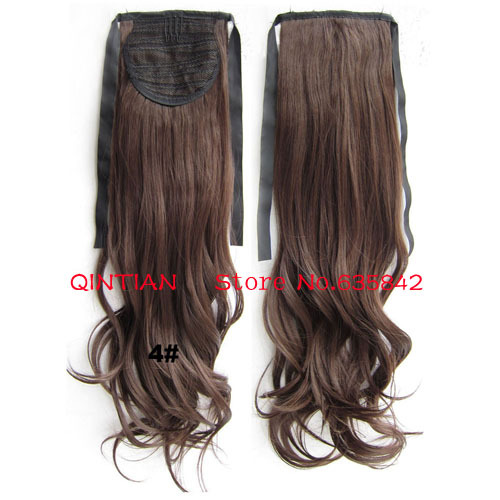 Fashion #4 Chocolate Brown Color Drawstring Ribbon Wavy Curly Ponytails Hair Extensions 24 60cm 100gram Synthetic Hairpieces<br><br>Aliexpress