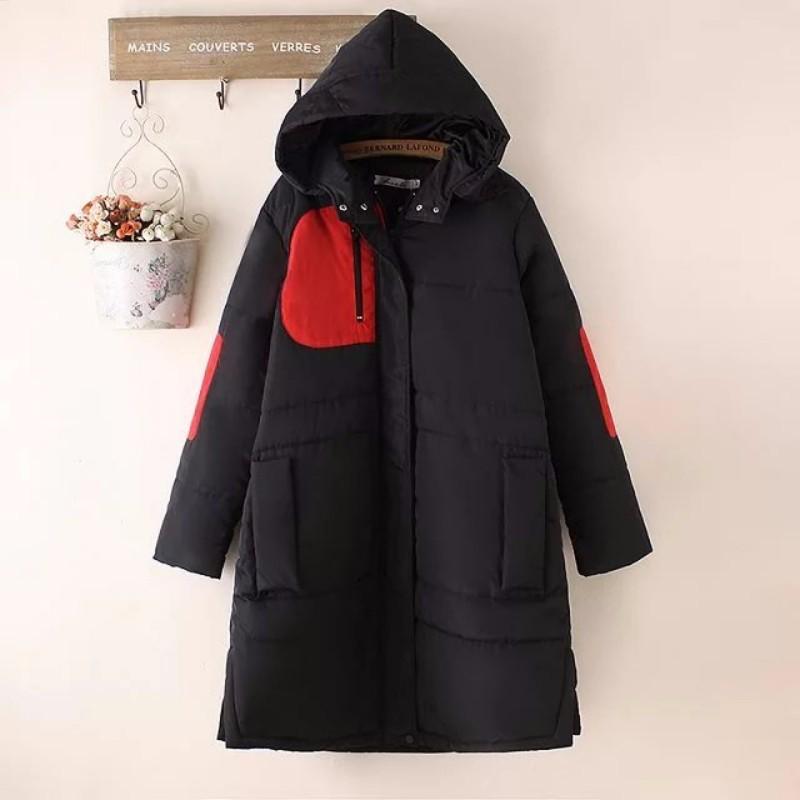 Скидки на Плюс Размер Женщин Хлопка Куртки 2016 Зима Новый Куртка Мода Повседневная Полный Рукав Длинный Патч Дизайн Женщины Пальто Хлопка Пальто