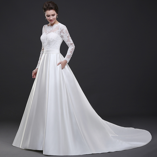Buy white lace long sleeves wedding dress for A line skirt wedding dress