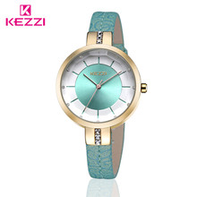KEZZI Brand Charming Ladies Watches Embossing Floral Leather Strap Wristwatches Japan Quartz Watches for Small Wrist k1262