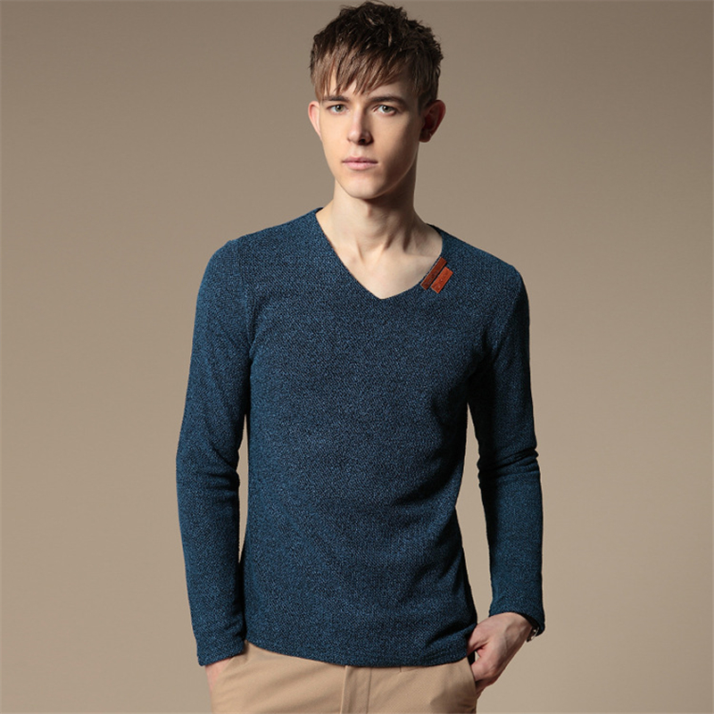 hot solid men long sleeve t shirts hip hop fashion Linen V neck solid new mens designer fitness t shirts tee plus size 5XL XS700(China (Mainland))