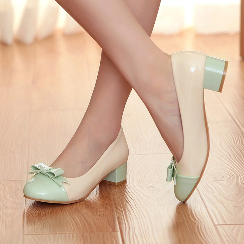 new hot school style sweet casual low square heels green pink pumps round toe women shoes shallow bowtie dress shoes<br><br>Aliexpress