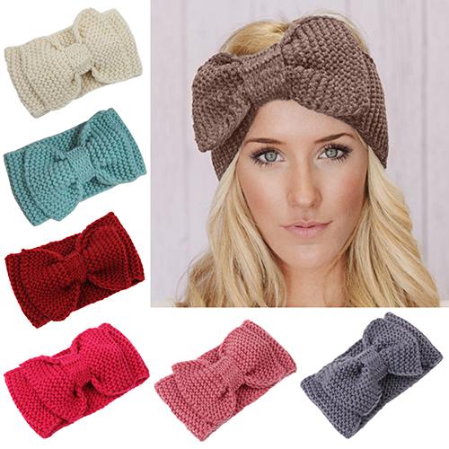 2016 New Women's Bowknot Crochet Handmade Knit Headband Warm Winter Head Hairband(China (Mainland))
