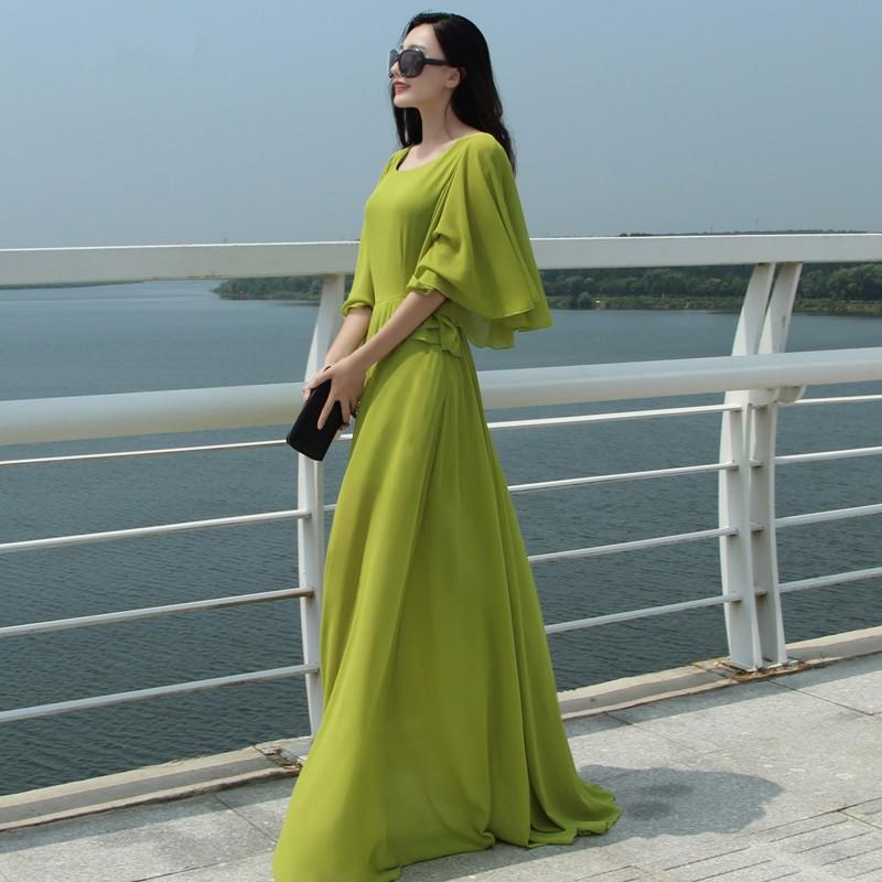 Длинные шифоновые платья в пол с рукавами