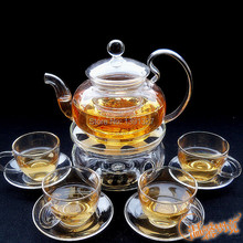 Borosilicate Glass Clear Teapot Tea Set Warmer+4 Mugs+10 Candles