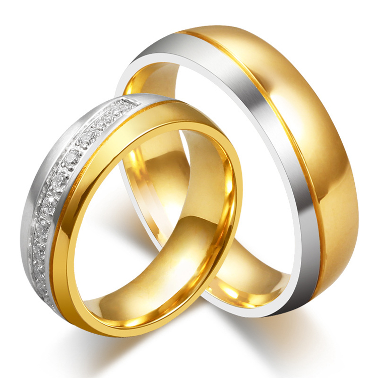High Quality Stainless Steel Wedding Band Anniversary Gift Engagement Rings Sets For Men And