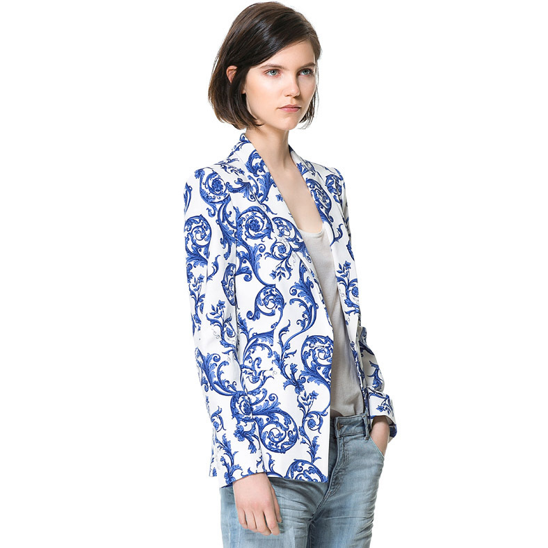 haoduoyi blue and white porcelain Chinese style ceramic printing a buckle Slim leisure suit jacket free shipping(China (Mainland))