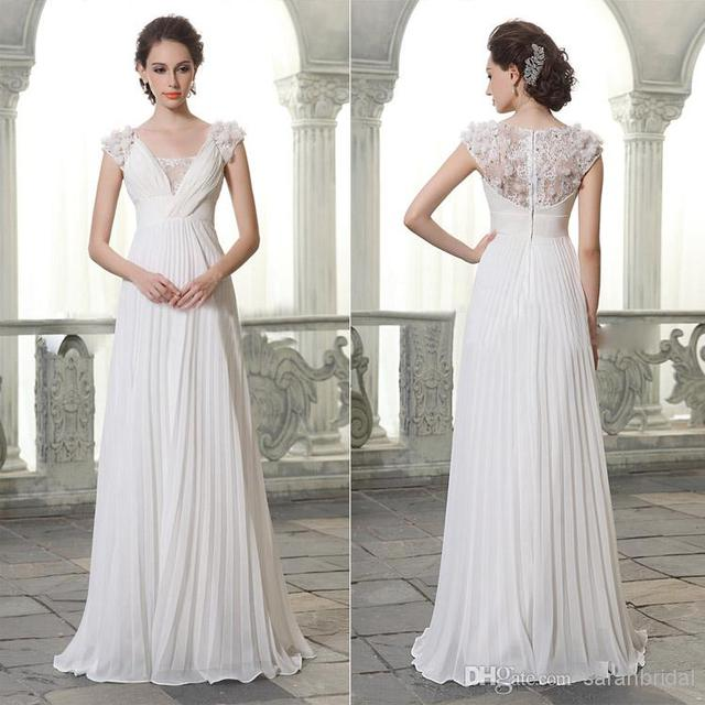 Elegant vintage wedding dress 2015 new v neck short sleeve for Vintage summer wedding dresses