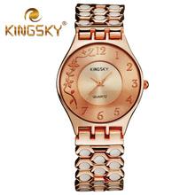 2015 Hot Kingsky Women Quartz Chain Watch Alloy White Dot Brand Flora Female Wrist Rose Gold