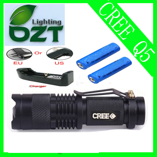 CREE XM-L Q5 450Lumens cree led Torch Zoomable Cree Waterproof LED Flashlight Torch light+2pcs Battery+Battery Charger(China (Mainland))