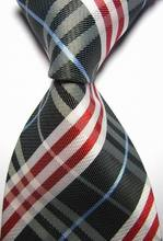 NT0420 Black Blue Red Stripe Man s Luxury Silk Polyester Tie Jacquard Woven Classic Business Party