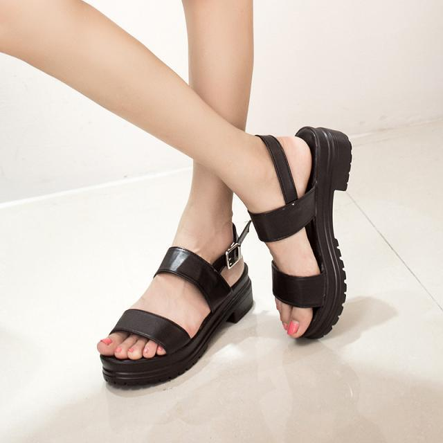 2015 fashion summer shoes open toe black leather