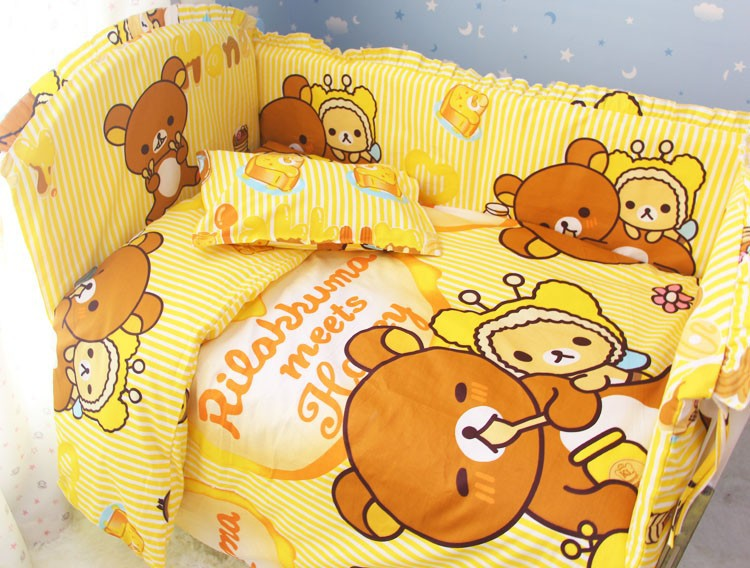 Promotion! 6pcs Bear Competitive Price Bedding Set for Babies,Lovely Design Baby Cot Set,include (bumpers+sheet+pillow cover)(China (Mainland))
