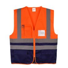 Высокая видимость Жилеты Безопасности Светоотражающий топы для мужчин и женщин унисекс строитель builder два тона желтый черный orange черный(China)
