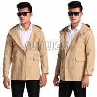 2014 New Men's Fashion Casual Double Breasted Trench Slim Fit Long Blazer Coats Men Coat Down Military Jackets 24