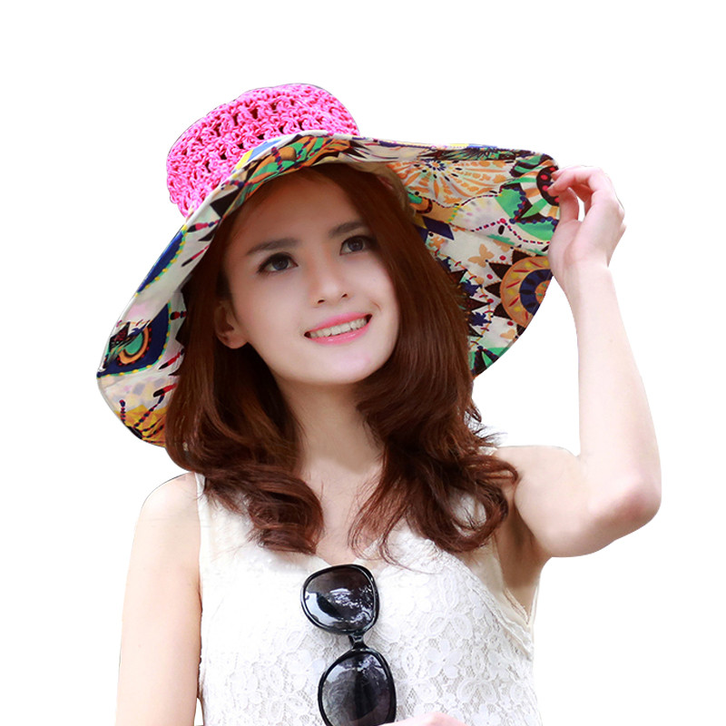 New Ladies Summer Sunhat Rose Red Colour Fashion Charming Large Wide Brim Sun Beach Hat Straw Cap Women Hand Woven Straw Hat(China (Mainland))