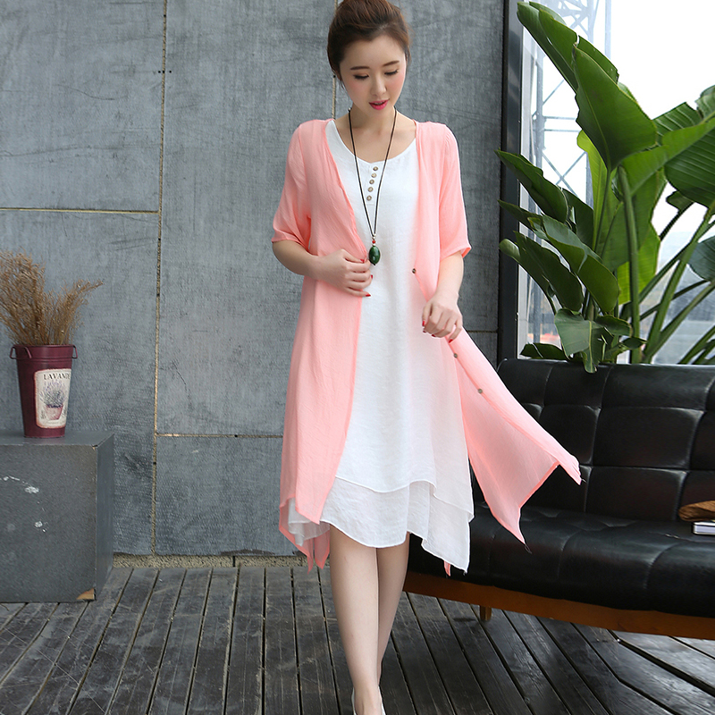 Women Summer Dress 2016 New Casual Loose Plus Size Solid White Vest dress and Cardigan Two pieces Sets Breathable fabric Dress(China (Mainland))