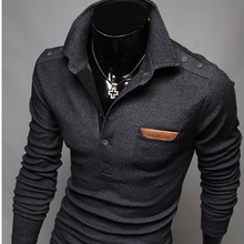 2015 New Retro Decorative Buttons Veneer Chest Korean Men Cultivating Long-Sleeved Polo Man Sweater Mens Pullovers M~XXL(China (Mainland))