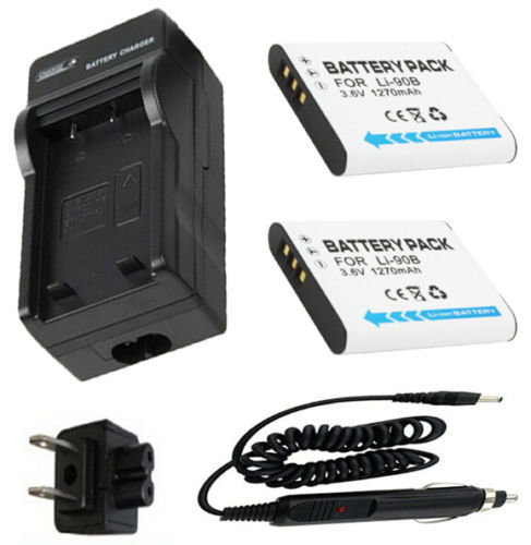 Details about Battery (2-Pack) + Charger for Olympus LI-90B, LI-92B Lithum Ion Rechargeable(China (Mainland))