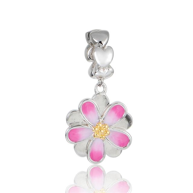 925 - серебристо-ювелирные бусины розовый цветок мотаться бусины Fit Chamilia пандора браслет серебро 925 мода DIY