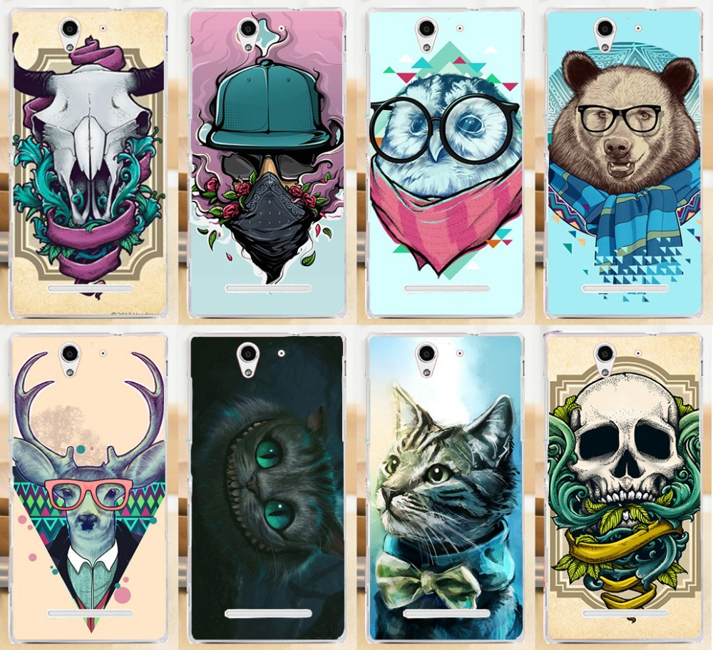 Pattern Cute Animal Beer Panda Cow Head Skull PC Phone Cases Covers For Sony Xperia C3 S55T S55U D2533 Dual D2502 Skin Shell(China (Mainland))