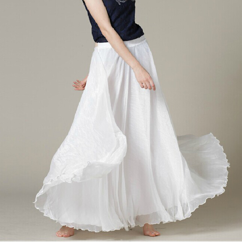 Popular White Long Chiffon Maxi Skirt-Buy Cheap White Long Chiffon ...
