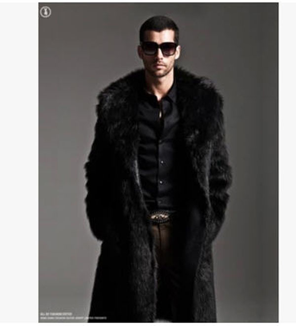 Fashion Men Winter Thick Mink Fur Coat Man Double-Sided Wear Black  X-Long Fur Jacket Overcoat Slim Brand New Outwear S1078Îäåæäà è àêñåññóàðû<br><br>