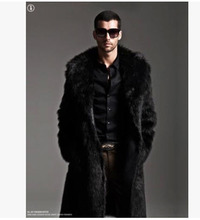 Fashion Men Winter Thick Mink Fur Coat Man Double-Sided Wear Black  X-Long Fur Jacket Overcoat Slim Brand New Outwear S1078(China (Mainland))