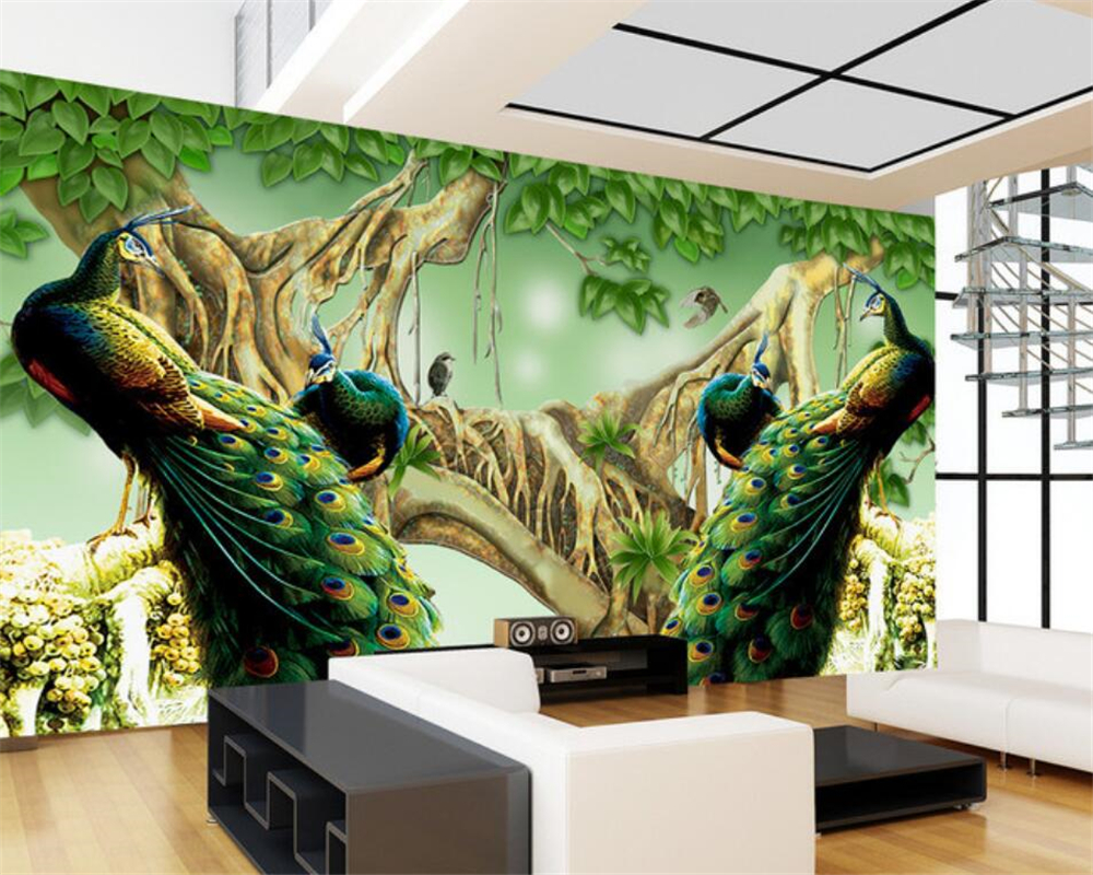 Peacock Living Room Compare Prices On Peacock Wallpaper For Walls 3 D Online Shopping