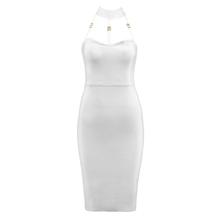 2018 новый летний белый Бандажное платье пикантные Черные Рукавов Холтер выдалбливают Для женщин знаменитости вечерние Платье для вечеринки(China)