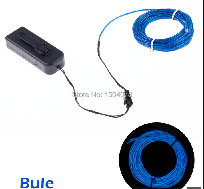 2014hot sale neon blue flexible el wire 5m flexible neon light thanksgiving christmas Party decoration free shipping(China (Mainland))
