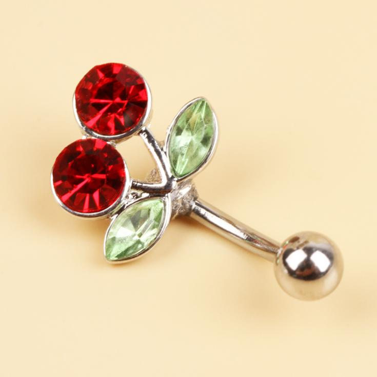 Fashion Body Jewelry Surgical Steel Red Cherry Belly Navel Ring Decorated By Rhinestones Bell Piercing(China (Mainland))