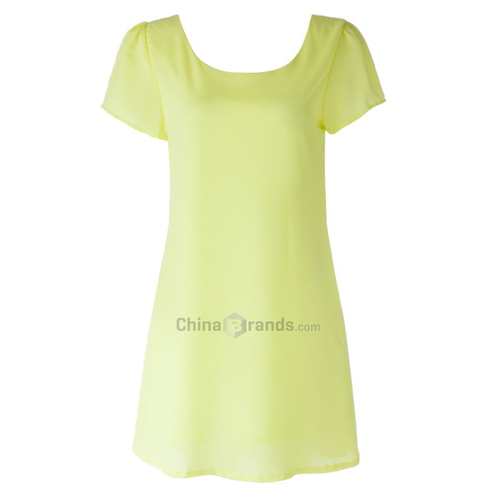Yellow Dress Sexy Scoop Neck Short Sleeve Solid Color Backless Criss-Cross Short Sleeve Summer Dress 118832008(China (Mainland))