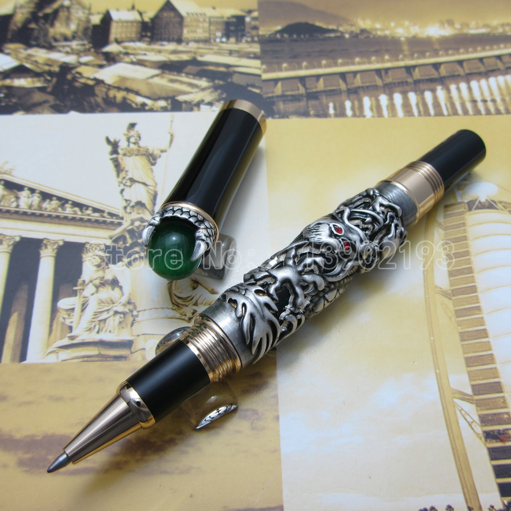 Jinhao Gold White Silver dragon king play pearl Ballpoint Pen beautiful retro culture gift pen with Ordinary Gift Box J36H2T(China (Mainland))