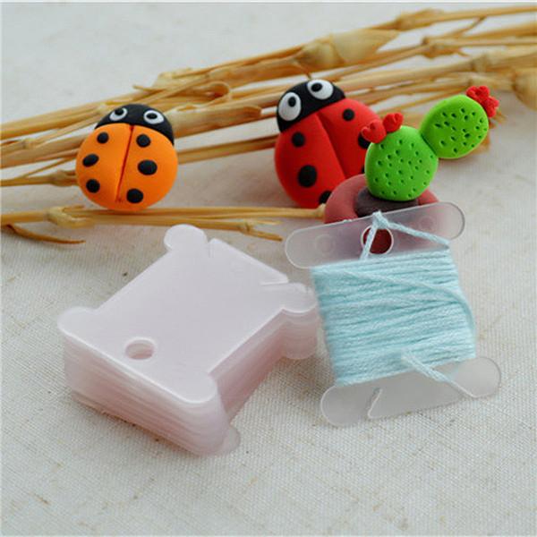 Color Random 100 pcs Plastic Thread Bobbins for Embroidery Floss Craft Storage Holder board Card