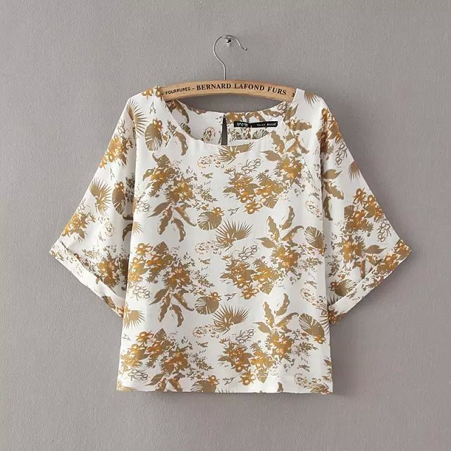 2015 za women summer floral print loose cotton blouse shirts elegant raglan sleeve pullover cheap shirt brand blusas tops(China (Mainland))