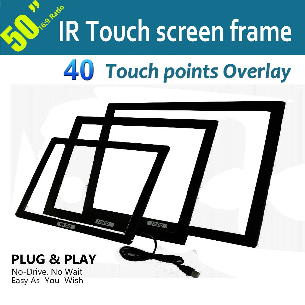 "Free Shipping High-end 50"" IR Touch Frame 40 points Anti-Sunlight Free Driver For Digital Signage, Kiosk,Exhibitions,Whiteboard(China (Mainland))"