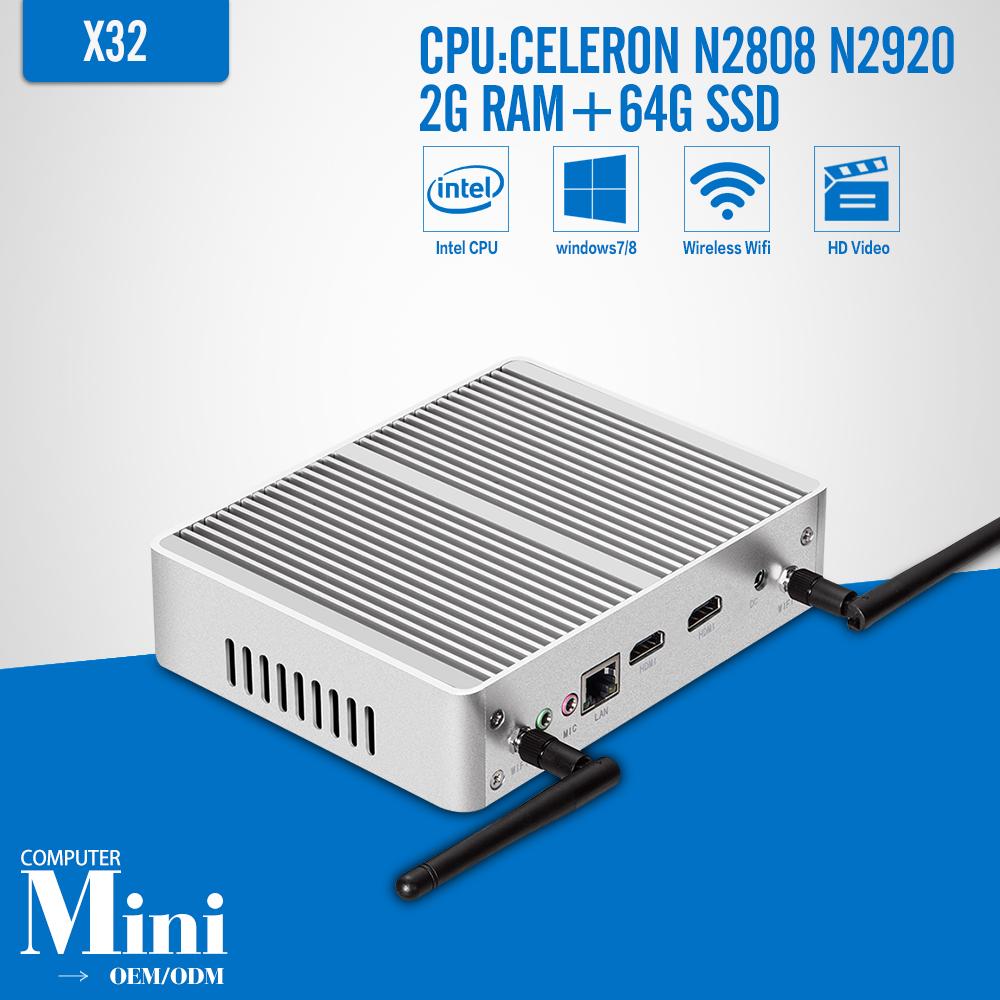 Thin Client ,Celeron N2808 N2920 DDR3 2G RAM 64G SSD Mini PC Laptop Computer Desktop Case Mini PC Game Computer(China (Mainland))