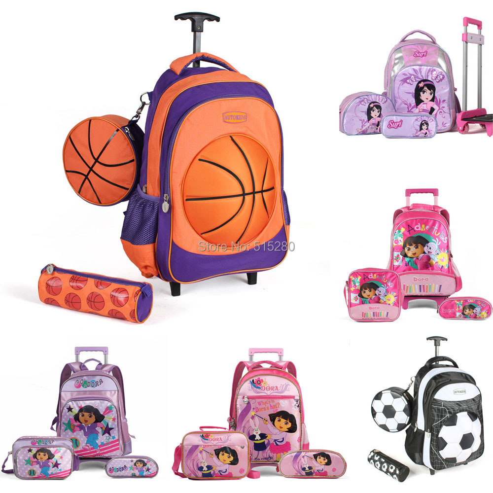 AliExpress.com Product - New 2015 Lovely School Rolling Trolley Bags Dora Bags Wheel Bag Football Suitcase Children Backpack Pencil Case 7 Styles