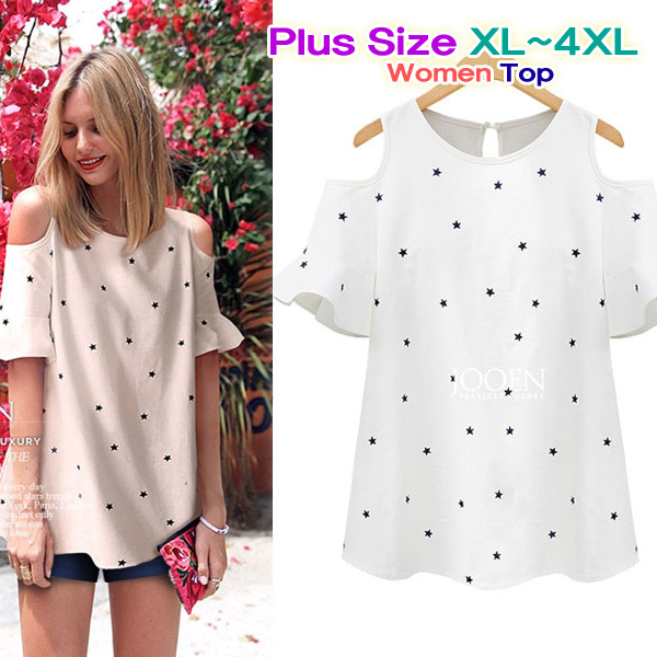 Women's Open Shoulder Little Star Pattern Printed Cotton Short Sleeve Blouse/Free Shipping/Shirt/Tops/Cardigan(China (Mainland))
