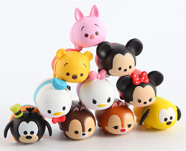 Hard plastic Tsum Tsum 10Pcs/lot 3.8CM Tsum Tsum Donald Mickey Winnie Duck Toys Cute Elf Doll Bathing Toy For Chirldren Gift(China (Mainland))