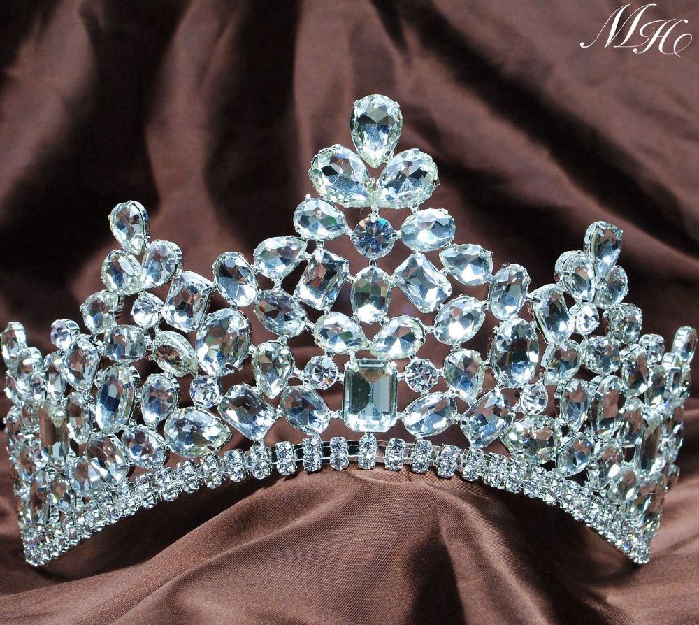 Sparkling Clear Crystal Austrian Rhinestones Crowns Wedding Bridal Tiaras Pageant Party Prom Headband Accessories<br><br>Aliexpress