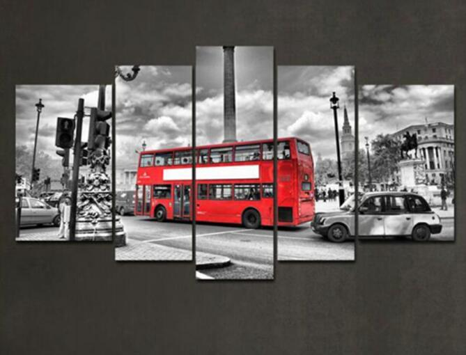 Frame 5 Pieces Modern Wall Art Canvas Printed Painting Wall Pictures For living room Modern City Painting Red Bus HX-037(China (Mainland))
