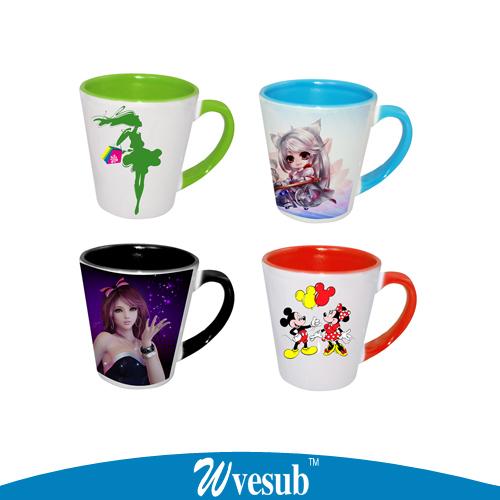 36pc Candy Color Mugs Subliamtion Blank Cup Ceramic Mug Coffee Cup Tea Drink DIY Gift Inner Rim Color Mug(China (Mainland))