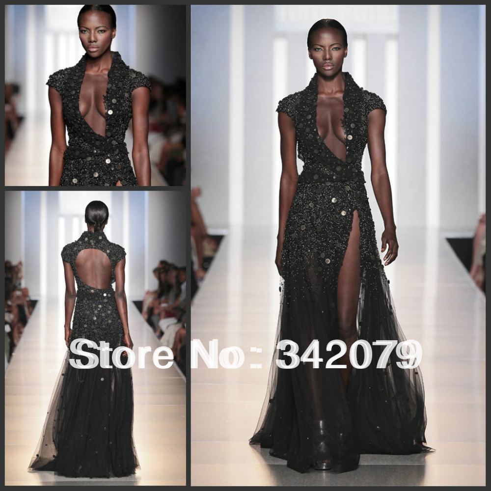 ph09452 Black evening gown embroidered with gold circles wrapped haute couture zuhair murad dresses for sale(China (Mainland))