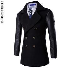 Дешевые Мужские Пальто Мода Шерсти Длинные мужские пальто, зима Траншеи Пальто Мужчины, Gabardinas Пункт Hombre(China (Mainland))