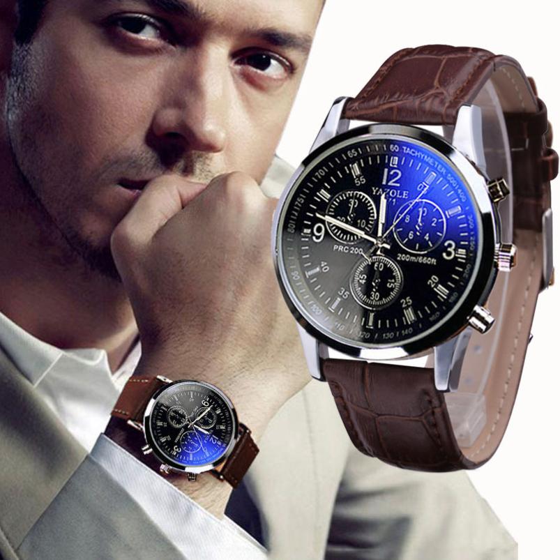 Великолепный новый роскошный мода искусственной кожи мужчины синий луч стеклянный кварцевые аналоговые часы свободного покроя прохладный часы марка мужчины часы 2015