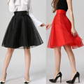 Womens Summer Skirts 2016 New Fashion Red Organza Pleated Skirt Women High Waist Black Midi Skater